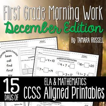 First Grade Morning Work: December Edition {Common Core Aligned}