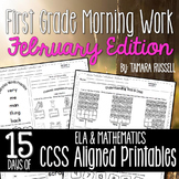 First Grade Morning Work: February Edition {Common Core Aligned}