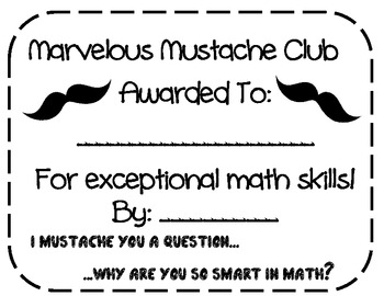 Marvelous Moustache {Mustache} Math {math motivation and bulletin board)