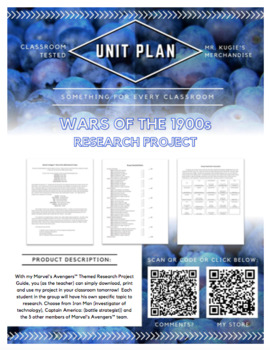 UNIT PLAN - 6th Grade Research Project on Wars of the 1900s (4 Weeks)