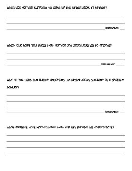 """""""Marven of the Great North Woods"""" worksheet"""