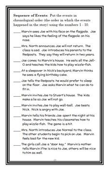 Marvin Redpost: A Flying Birthday Cake? (Sachar) Novel Study / Comprehension