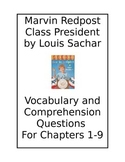 Marvin Redpost Class President by Louis Sachar: Vocab. & Comprehension Questions