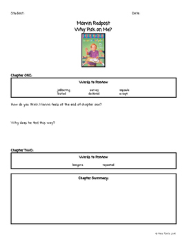 Marvin Redpost Why Pick On Me Chapter Questions for Book Study