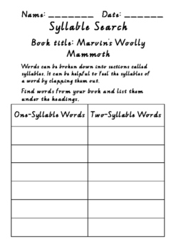 Marvin's Woolly Mammoth Syllable Search