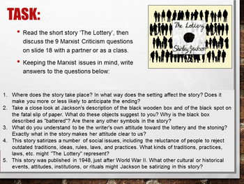 Marxist Literary Criticism Powerpoint lesson + activity