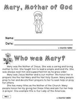 Mary Activity Packet for Young Catholics