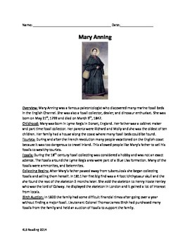 Mary Anning - paleontologist - review article 20 questions vocab - 8 pages