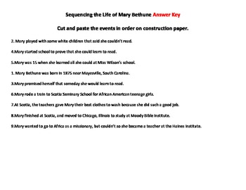 Mary Bethune Sequencing