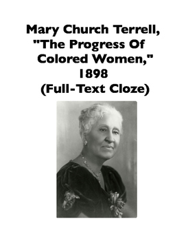 African-American Women: Mary Church Terrell, Speech from 1898 (Full-Text Cloze)