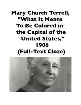 African-American Women: Mary Church Terrell, Speech from 1906 (Full-Text Cloze)