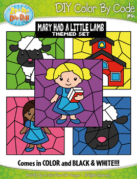 Mary Had A Little Lamb Color By Code Clipart {Zip-A-Dee-Doo-Dah Designs}