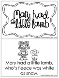 Mary Had A Little Lamb Early Emergent Reader. Pre-K and Ki