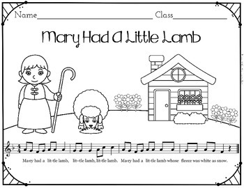Mary Had A Little Lamb Folk Song Coloring and Puzzle Activity