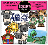 Mary Had A Little Lamb Nursery Rhyme Clip Art Bundle {Educlips Clipart}