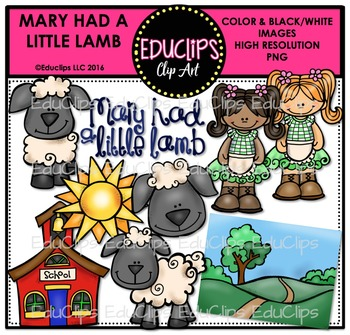 Mary Had A Little Lamb Nursery Rhyme Clip Art Bundle {Educ