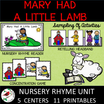 Mary Had A Little Lamb Nursery Rhyme Literacy Centers for Emergent Readers