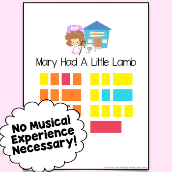 Mary Had A Little Lamb Easy-To-Play, Color-Coded Piano Song Sheet