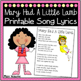 Mary Had A Little Lamb Printable Song Lyrics ~ Music & Poetry for Kids