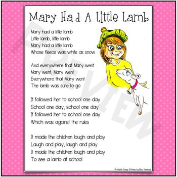 Printable Mary Had A Little Lamb Song Lyrics By Miss Vanessa