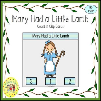 Mary Had a Little Lamb Count and Clip Task Cards