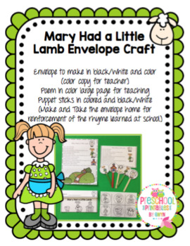 Mary Had a Little Lamb Envelope Craft