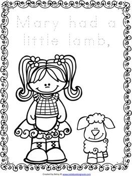 Mary Had a Little Lamb Nursery Rhyme Activity Packet