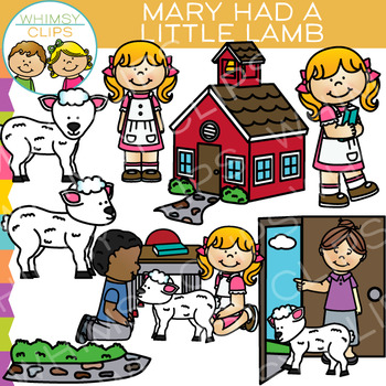 Mary Had a Little Lamb Nursery Rhyme Clip Art