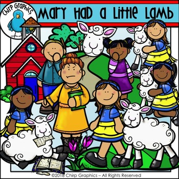 Mary Had a Little Lamb Nursery Rhyme Clip Art Set - Chirp Graphics