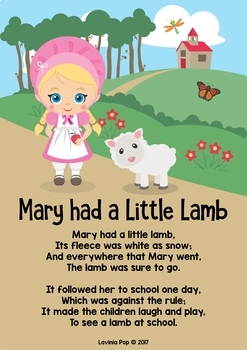 Mary Had a Little Lamb Nursery Rhyme Worksheets and Activities