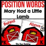 Positional Words Activities | Mary Had  Little Lamb Positi