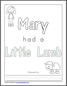 Mary Had A Little Lamb Printable Activity Packet