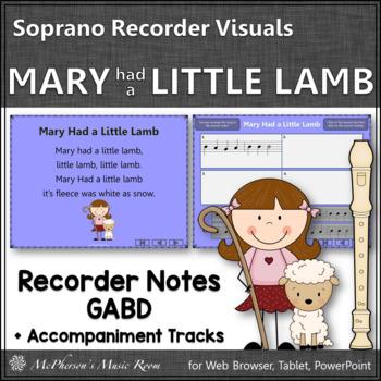 Mary Had a Little Lamb - Soprano Recorder Visuals (Notes GAB D)