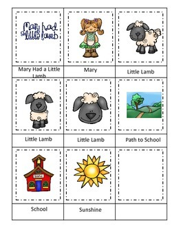Mary Had a Little Lamb themed Three Part Matching preschool printable activity.