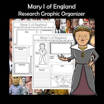 Mary I of England Biography Research Graphic Organizer