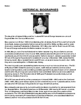 Mary II  Biography Article and (3) Assignments