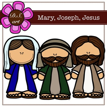 Mary, Joseph, Jesus Digital Clipart (color and black&white)