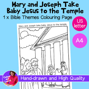 """Mary, Joseph+ Jesus at Temple"" Bible Coloring Sheet/Colouring Sheet (Religious)"