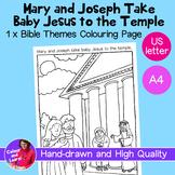 """Mary, Joseph+ Jesus at Temple"" Bible Coloring Sheet/Colou"