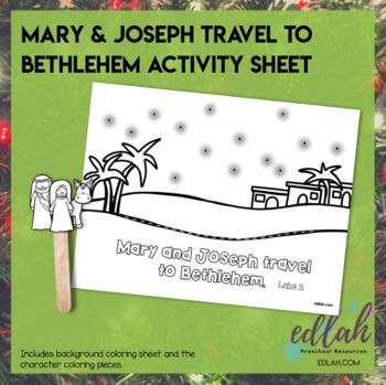 Mary & Joseph Travel to Bethlehem Popsicle Stick Activity Sheet