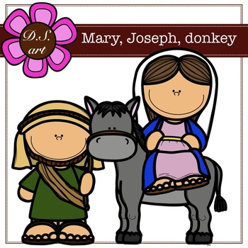 Mary, Joseph, donkey Digital Clipart (color and black&white)
