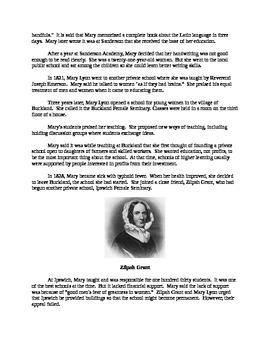 Mary Lyon - Leader in Women's Education