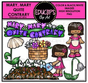 Mary, Mary Quite Contrary Nursery Rhyme Clip Art Bundle {Educlips Clipart}