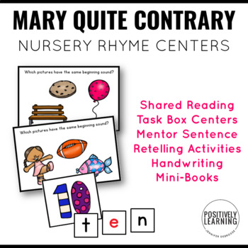 Mary Mary Quite Contrary Nursery Rhyme Literacy Tasks
