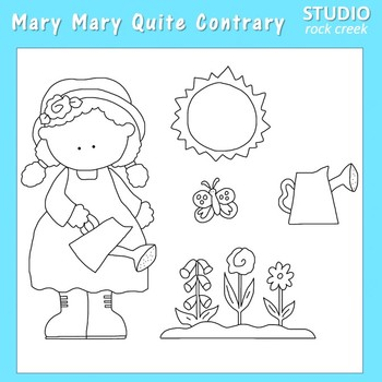 Mary Mary Quite Contrary line drawings pers/com C Sesler