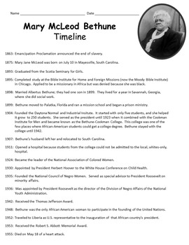 Mary McLeod Bethune Activity Pack