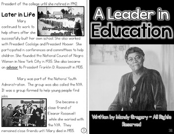 Mary McLeod Bethune: A Differentiated Nonfiction Resource for 3rd Grade