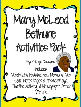 Mary McLeod Bethune Activities Pack