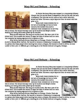 Mary McLeod Bethune- Article - Schooling