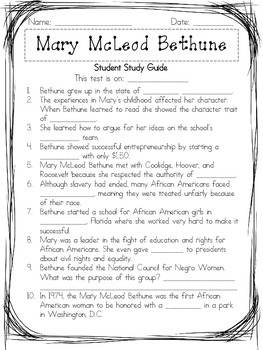 Mary McLeod Bethune Assessment Packet: Study Guide, Vocabulary, Test, and Key